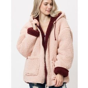 Wine & Pink Reversible Sherpa Coat